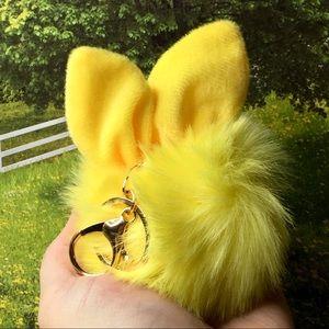 Bunny Pom Pom Keychain Purse Charm